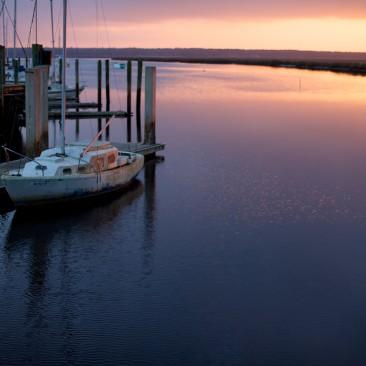 Sailboat, dock at Saint Mary's, Georgia.
